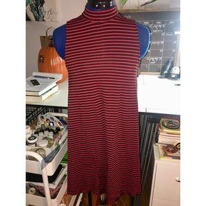 Angie Mock Neck Striped Sleeveless Dress